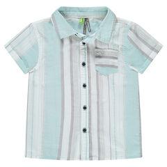 Κοντομάνικο πουκάμισο με κάθετες ρίγες. και τσέπη
