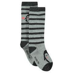 Σετ 2 ζευγάρια κάλτσες με ρίγες/τύπωμα πιγκουίνο