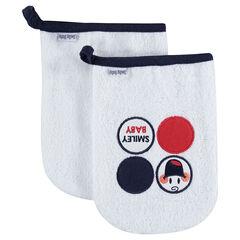 Σετ με 2 πετσετέ γάντια μπάνιου με σήματα Smiley