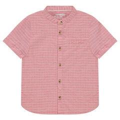 Κοντομάνικο βαμβακερό πουκάμισο με μάο γιακά