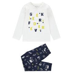Πιτζάμα από ζέρσεϊ με τυπωμένα γράμματα και παντελόνι με μοτίβα σε όλη την επιφάνεια