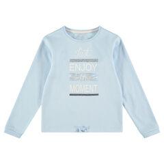 Παιδικά - Μονόχρωμο φανελένιο φούτερ με τυπωμένο μήνυμα και πούλιες
