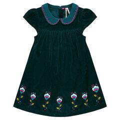 Φόρεμα από βελούδο με στρογγυλό γιακά και κεντήματα