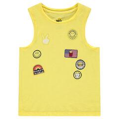 Αμάνικο βαμβακερό μπλουζάκι με σήματα ©Smiley