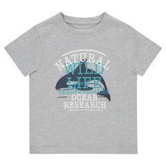 7ebf3245abc9 Κοντομάνικη μπλούζα από ζέρσεϊ με διακοσμητική στάμπα
