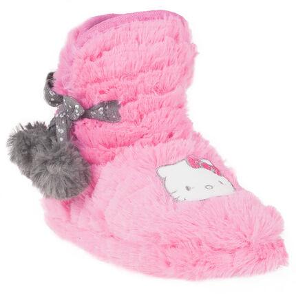 Chaussons bottines fausse fourrure avec patch Hello Kitty et pompons