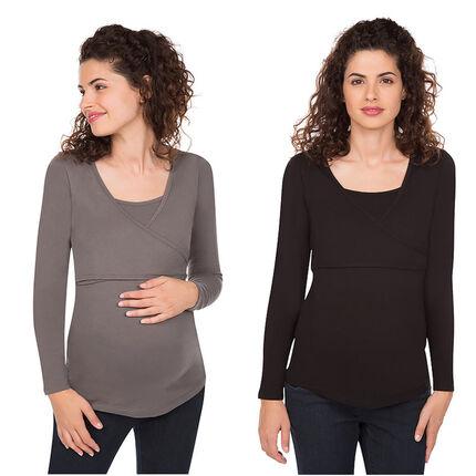 Σετ 2 μονόχρωμες μακρυμάνικες μπλούζες εγκυμοσύνης και θηλασμού