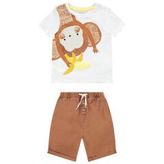 Ensemble en coton bio avec t-shirt print singe et bermuda , Orchestra