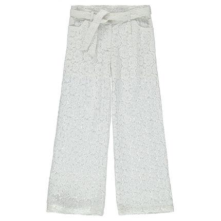 Παιδικά - Φαρδύ παντελόνι από δαντέλα με φλοράλ σχέδιο