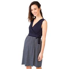 Φόρεμα εγκυμοσύνης με βολάν, μονόχρωμο στο πάνω μέρος και ριγέ στο κάτω