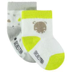 Σετ με 2 ζευγάρια κάλτσες με διακοσμητικά μοτίβα και φθορίζουσες νότες