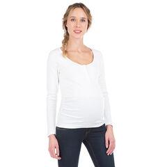 Μακρυμάνικη ριμπ μπλούζα εγκυμοσύνης με σούστες στο στήθος