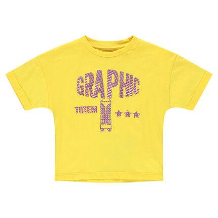 Κοντομάνικη κίτρινη μπλούζα από ζέρσεϊ με διακοσμητική στάμπα