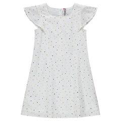 Παιδικά - Κοντομάνικο φόρεμα με διάσπαρτο μοτίβο