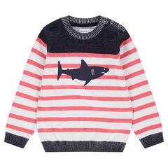 Πλεκτό σε στυλ μαρινιέρας με στάμπα καρχαρία