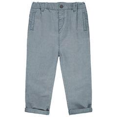 Παντελόνι μελανζέ από ύφασμα με τσέπες