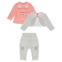 Σύνολο 3 τεμαχίων με μπλούζα με στάμπα, ζακέτα και παντελόνι