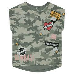 Παιδικά - Κοντομάνικη μπλούζα σε τετράγωνη γραμμή από ζέρσεϊ εμπριμέ