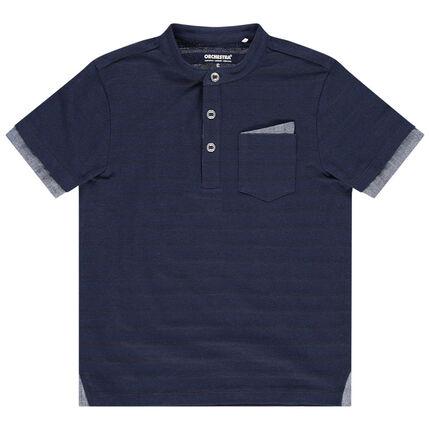 Κοντομάνικη μπλούζα με γιακά μάο, τσέπη και ρίγες ζακάρ