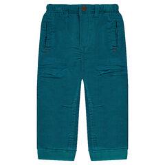 Μονόχρωμο παντελόνι βελουτέ λεπτό κοτλέ