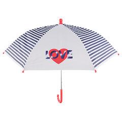 Ομπρέλα με ρίγες και τυπωμένες καρδιές