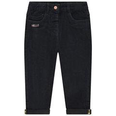 Βελούδινο παντελόνι με ζέρσεϊ επένδυση και κεντημένες φράσεις