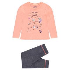 Σύνολο πιτζάμας με μπλούζα με στάμπες και παντελόνι από φανέλα σε γκρι μελανζέ