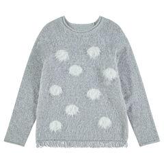 Παιδικά - Πλεκτό πουλόβερ με χνουδωτή υφή και πουά σε αντίθεση