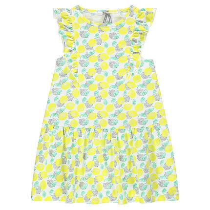 Φόρεμα με βολάν και μοτίβο σε όλη την επιφάνεια