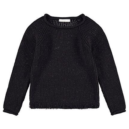 Παιδικά - Πλεκτό πουλόβερ με μεταλλιζέ νήμα για μελανζέ όψη και κρόσσια