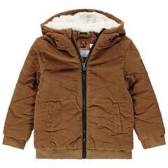 Βελουτέ μπουφάν με κουκούλα και επένδυση sherpa