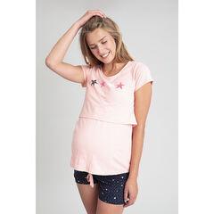 Κοντομάνικο ροζ μπλουζάκι θηλασμού