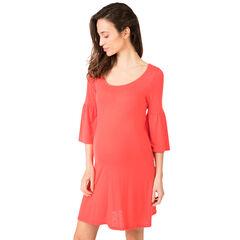 Μονόχρωμο φόρεμα εγκυμοσύνης με μανίκια 3/4 και βολάν