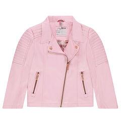 Ροζ μπουφάν perfecto από συνθετικό δέρμα με τσέπες και φερμουάρ