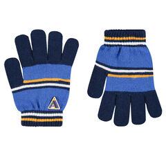Πλεκτά γάντια με ρίγες σε αντίθεση και σήμα από καουτσούκ