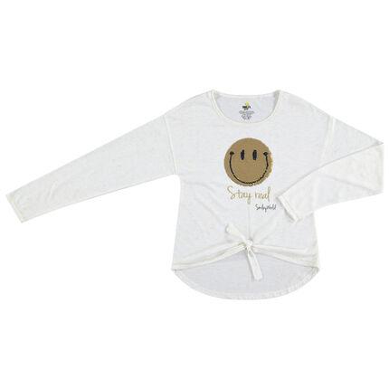 Παιδικά - Μακρυμάνικη μπλούζα που δένει μπροστά με Smiley από «μαγικές» πούλιες