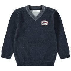 Πλεκτό μελανζέ πουλόβερ με σήμα στο στήθος