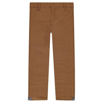Βαμβακερό παντελόνι chino σε καμηλό χρώμα