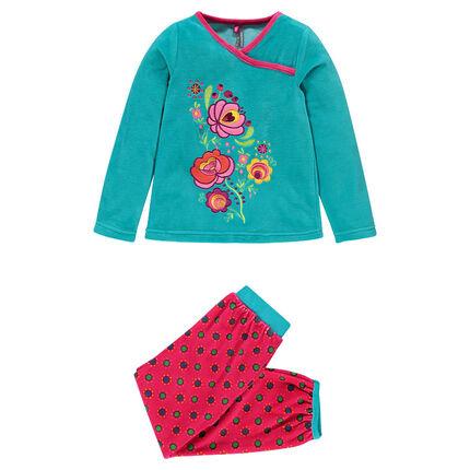 Pyjama long en velours avec fleurs brodées et imprimé pois