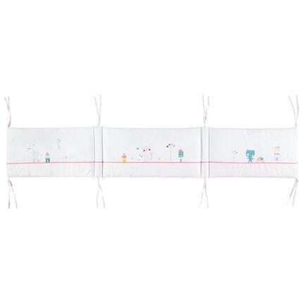 Tour de lit 3 pans en veloudoux à personnages colorés et nouettes
