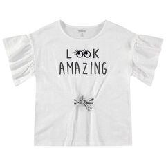 Παιδικά - Κοντομάνικη μπλούζα με βολάν και κορδόνια που δένουν
