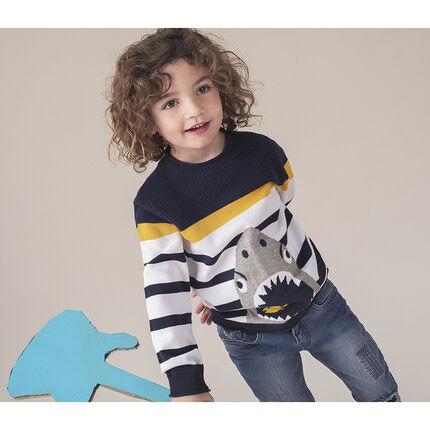 Πλεκτό πουλόβερ με ρίγες και καρχαρία σε ζακάρ