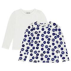 Παιδικά - Σετ με 2 μακρυμάνικες ζέρσεϊ μπλούζες, μία εμπριμέ / μία μονόχρωμη