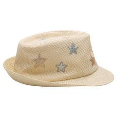 Καπέλο μπορσαλίνο με όψη ψάθας και κεντημένα αστέρια