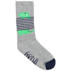 1 ζευγάρι ψηλές αντιολισθητικές κάλτσες με ζακάρ ρίγες και δεινόσαυρο