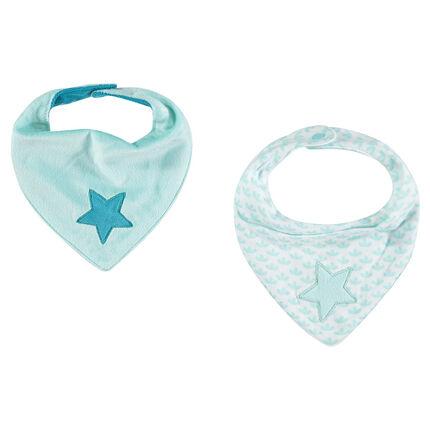 Lot de 2 bavoirs forme bandana avec étoiles brodées