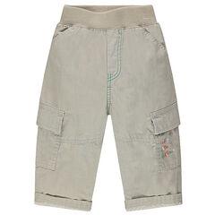 Παντελόνι μονόχρωμο με πολλές τσέπες