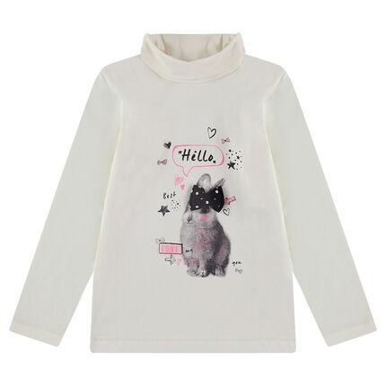 Ζέρσεϊ μπλούζα με λαιμό ζιβάγκο και διακοσμητική στάμπα