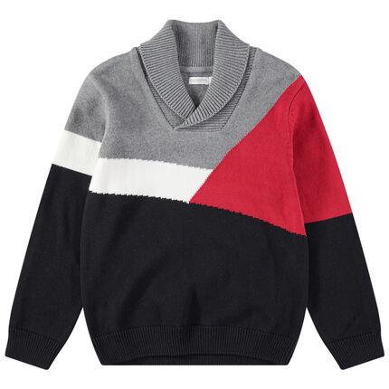 Πλεκτό πουλόβερ με ζακάρ γεωμετρικό μοτίβο