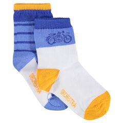 Σετ με 2 ζευγάρια ασορτί κάλτσες με σχέδια/ρίγες